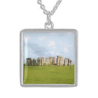 Stonehengeの石造りの円記念碑 スターリングシルバーネックレス