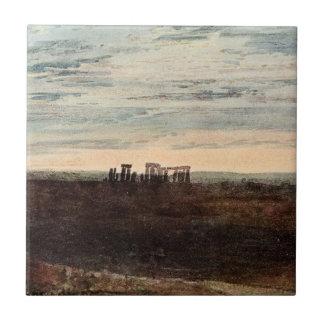 Stonehengeの薄暗がりの空の芸術のソールズベリーの謎のヴィンテージ タイル