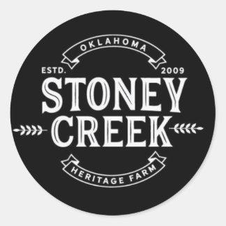 Stoneyの入り江の伝統の農場のステッカー(黒) ラウンドシール