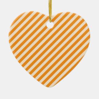 [STR-OR-1]ストライプのなオレンジおよび白いキャンディ・ケーン セラミックオーナメント