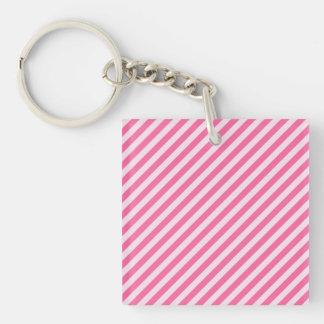 [STR-PINK-01]ストライプのなピンクのキャンディ・ケーン 正方形(両面)アクリル製キーホルダー