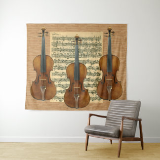 StradivariusのバイオリンのトリオのBach Chaconneの原稿 タペストリー