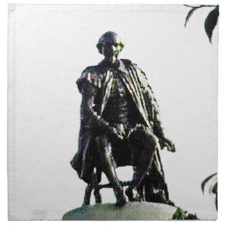 StratfordにAvonシェークスピアの彫像のjGibney ナプキンクロス