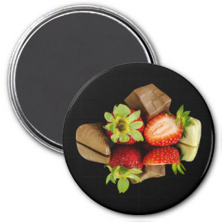 Strawberries and Chocolate Round Magnet マグネット