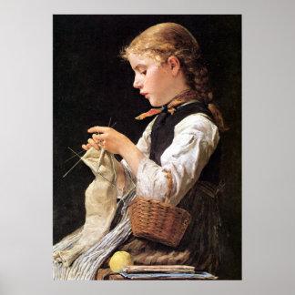 Strickendes Mädchenの編み物の女の子 ポスター