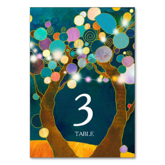 String Lights Love Trees Teal Wedding Table Number カード