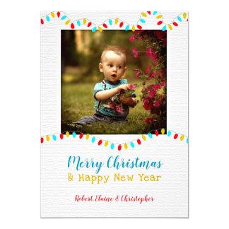 String o Lights Photo Christmas Flat Greeting Card カード