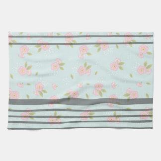 "Stripe Rose Pattern Kitchen Towel 16x24"" キッチンタオル"