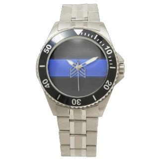 Stripes薄いブルーラインの-青か白人の下士官 腕時計