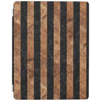 STRIPES1黒い大理石及びブラウンの石 iPadスマートカバー