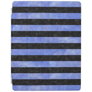 STRIPES2黒い大理石及び青い水彩画 iPadスマートカバー