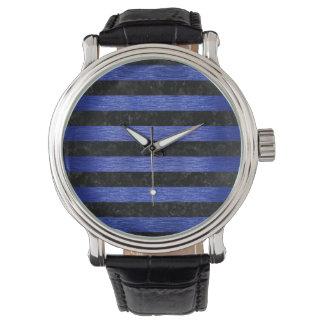 STRIPES2黒い大理石及び青によってブラシをかけられる金属 腕時計
