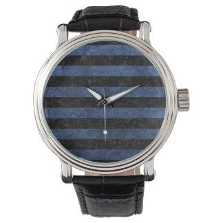 STRIPES2黒い大理石及び青石 腕時計