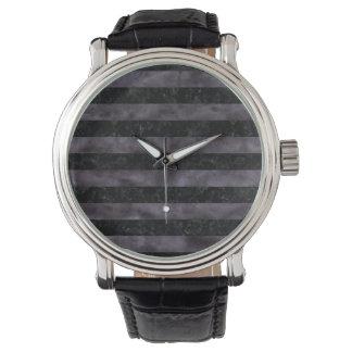 STRIPES2黒い大理石及び黒い水彩画 腕時計