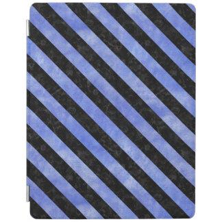 STRIPES3黒い大理石及び青い水彩画(R) iPadスマートカバー