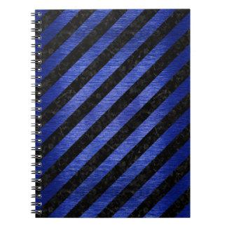 STRIPES3黒い大理石及び青によってブラシをかけられる金属 ノートブック