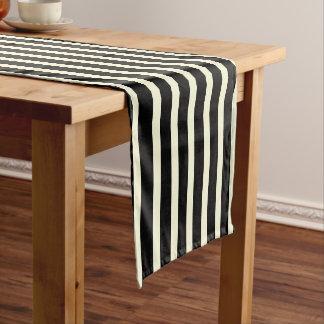 Stripes pattern two tone black cream ショートテーブルランナー