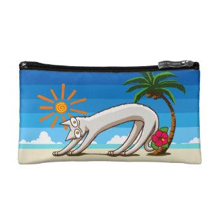 STropical猫。 海岸猫。 Berは熱帯猫を浜に引き上げます コスメティックバッグ
