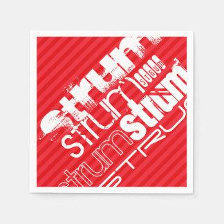 Strum; 深紅の赤のストライプ スタンダードカクテルナプキン