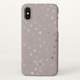Stylish Mauve and Shimmery Dots with Your Monogram iPhone X ケース