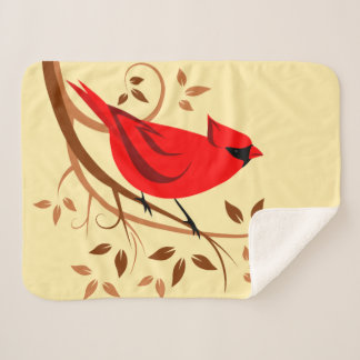 Stylized Red Cardinal On Swirl Branches シェルパブランケット