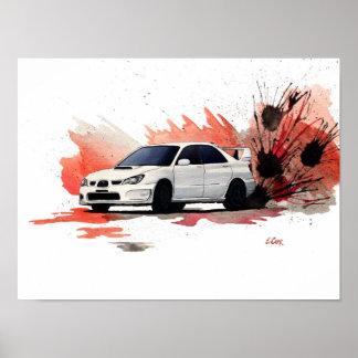 Subaru STiのグワッシュの絵画ポスター ポスター