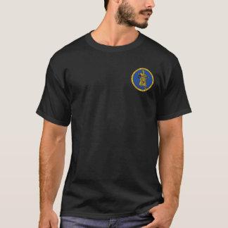 Subutaiの青及び金ゴールドのシールのワイシャツ Tシャツ