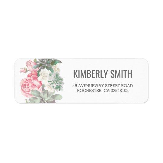 Succulentsおよびピンクの花模様の結婚 返信用宛名ラベル