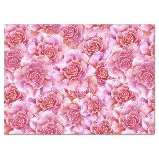 Succulentsのピンクのラベンダーの花柄 薄葉紙