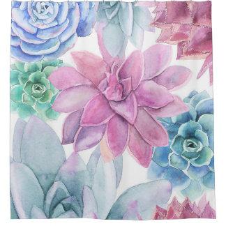 Succulentsのモダンでシックなフェスタの庭の花の白 シャワーカーテン