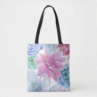 Succulentsのモダンでシックなフェスタの庭の花の白 トートバッグ