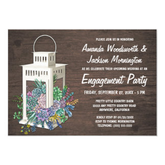 Succulents + ランタンの婚約パーティの招待状 カード