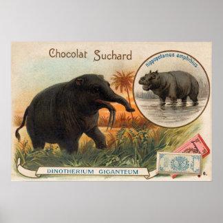 Suchard Chocolat Dinotheriumのアンティークカード ポスター