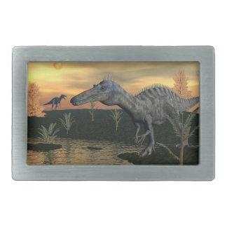 Suchomimusの恐竜- 3Dは描写します 長方形ベルトバックル