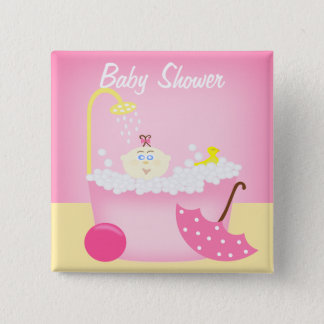 Sudsy浴槽のピンクのベビーシャワーPin 缶バッジ