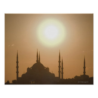 Suleymaniyeトルコ、イスタンブールのシルエット ポスター