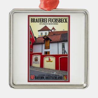 Sulzbach Rosenberg - Brauerei Fuchsbeck シルバーカラー正方形オーナメント