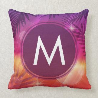 Summer Sunset Palm Trees Monogram Purple Orange クッション