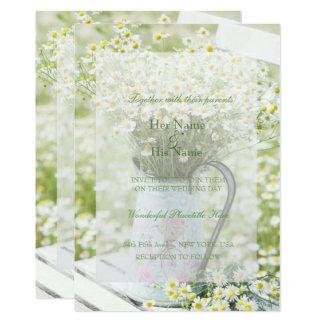 SummerfieldのデイジーのCamomileの花の結婚式 12.7 X 17.8 インビテーションカード
