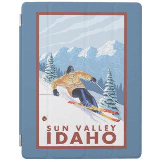 Sun Valley、アイダホ- Downhhillの雪のスキーヤー iPadスマートカバー