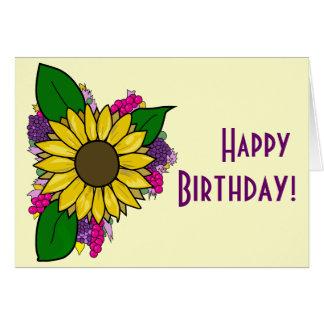 Sunflower Bouquet Card - Happy Birthday カード