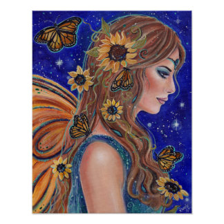 Sunflower fairy with butterflies art by Renee ポスター