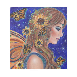 Sunflower fairy with butterflies notepad by Renee ノートパッド