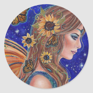 Sunflower fairy with butterflies sticker by Renee ラウンドシール