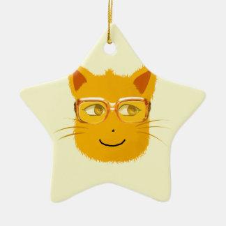sunglassを持つにこやかな猫 セラミックオーナメント