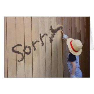 Sunhatの男の子の絵画の塀の残念なメッセージ カード