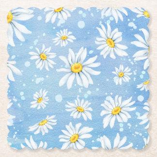 Sunny White Daisies on Blue ペーパーコースター