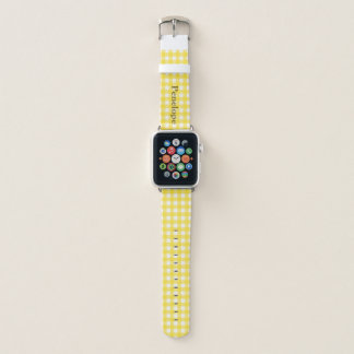 Sunny Yellow Gingham Add Your Name Apple Watchバンド