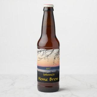 sunset湖ビールラベル ビールラベル