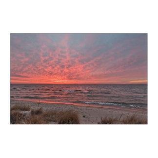Sunset in December on Lake Michigan アクリルウォールアート